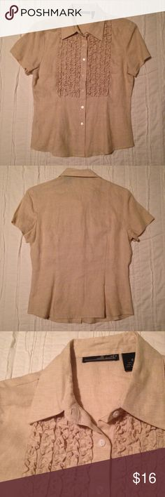 100% Linen Ruffle Blouse 100% Linen button-up blouse, with ruffle accent in front. Great quality!! Never worn! Willi Smith Tops Blouses