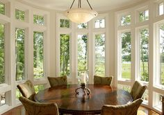 Eating Area Design. I love seeing lots of windows in eating areas. #eatingarea #EatingNook #Interiors #HomeDecor