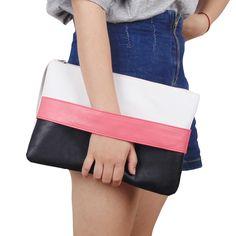 Forme a Mujeres el Bolso Sólido Patchwork Señora Embragues Del Día Nueva Moda Soft Chica Cremallera Paquete de La Moda Femenina Bolsas Casuales las mujeres bolsa