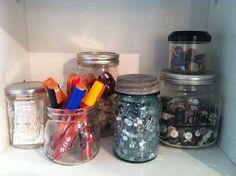Craft room organization,   mason jar storage  Designs by Shelb