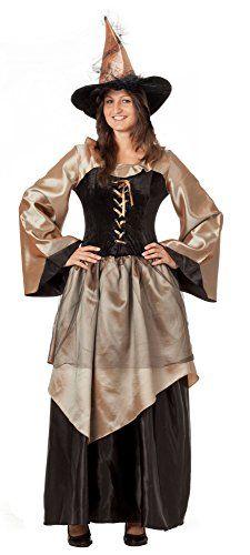 r-dessous hochwertiges Hexenkostüm mit Hut Zauberin Feen Mittelalter Kleid Damen Kostüm Halloween Karneval Groesse: S/M