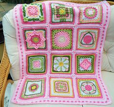 Ravelry: Maryfairy's Pink B.A.W.L. Afghans 1 & 2 - leads to squares used -