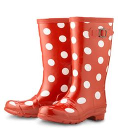 red polka dot rainboots - Chasing Fireflies  YES PLEASE!!!