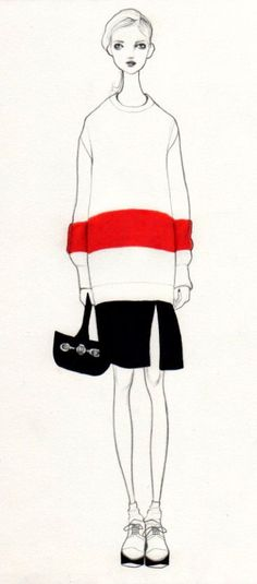 Fashion Illustration by Bijou Karman, via Behance #red & #black