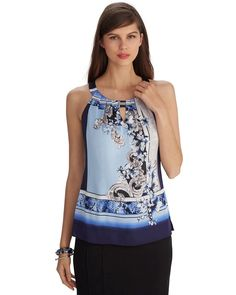 Sleeveless Printed Keyhole Top