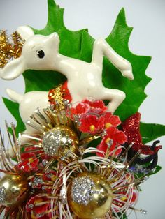 Christmas Corsage Vintage Retro Reindeer Red Gold Decoration Ornament 1950s Stocking Stuffer on Etsy, $35.00