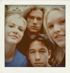 Heath Ledger, Joseph Gordon-Levitt, Julia Stiles, and Larisa Oleynik Polaroid, '10 Things I Hate About You.'