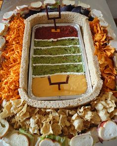snackadium tutorial.  superbowl mexican seven layer dip in shape of a stadium