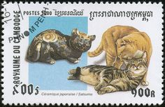 Cambodia 2000 Cat Stamps - Cats with Art