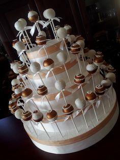 Bronze and white Wedding cake pops - by CreativeCakepops @ CakesDecor.com - cake decorating website