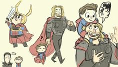 Little Pete with Uncle Thor and Loki although he's slightly wary of the latter. Marvel Comics, Marvel Jokes, Marvel Fan, Marvel Avengers, Spiderman Marvel, Superfamily Avengers, Spideypool, Stony Superfamily, Marvel Universe