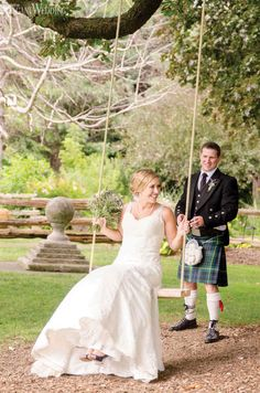 Scottish bride and groom on a swing! SCOTTISH ROOTS www.elegantwedding.ca
