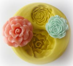 Flower Rose Polymer Clay Flowers Cabochon Mold Resin Clay Mould. $7.95, via Etsy.