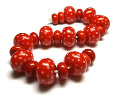 Beads By Laura: Lampwork glass 'Seeing Red' beads by Laura Sparling