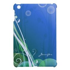 Just Sold! Abstract Artsy Shadow Tree and Leaf with Blue Bg | iPad Mini Cases