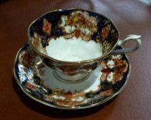 Collectible Royal Albert HEIRLOOM IMARI Footed Tea Cup & Saucer Set, England