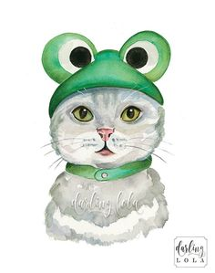 Cat Watercolor Print - Froggy Cat - Cat Art - Animal Art - Cat Painting - Nursery Art