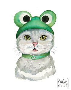 Cat Watercolor Print  Froggy Cat  Cat Art  by DarlingLolaDesigns
