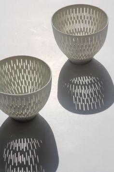 Perforated Porcelain by Linda Prüfer. Lightbowls