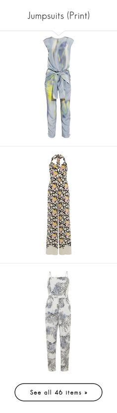 """Jumpsuits (Print)"" by giovanna1995 ❤ liked on Polyvore featuring print, jumpsuit, jumpsuits, dresses, rompers, jumpers, light blue, romper jumpsuit, loose romper and theyskens' theory"