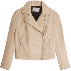 T BY ALEXANDER WANG Pebbled Leather Jacket ($1,326) ❤ liked on Polyvore featuring outerwear, jackets, coats, chaquetas, asymmetrical zip jacket, beige jacket, biker jacket, t by alexander wang and asymmetrical jacket