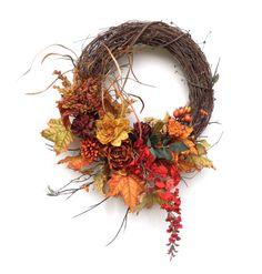Fall Wreath, Autumn Wreath, Fall Wreaths for Door, Fall Decor, Thanksgiving Decor,Autumn Decor,Outdoor,Fall Door,Front Door,Floral Grapevine
