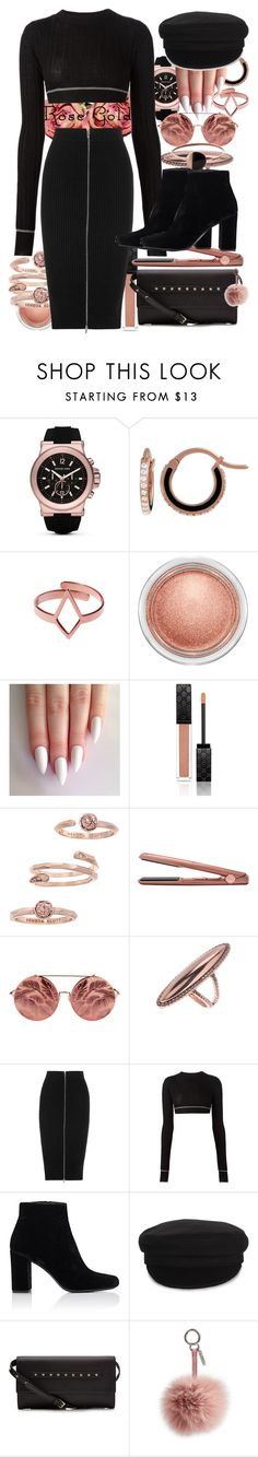 """""""So Pretty: Rose Gold Jewelry"""" by ohlizzy ❤ liked on Polyvore featuring MICHAEL Michael Kors, Raphaele Canot, Dutch Basics, MAC Cosmetics, Gucci, Kendra Scott, GHD, Matthew Williamson, House of Harlow 1960 and T By Alexander Wang"""