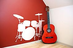 Drum Set Wall Decal, love it Music Wall Decor, Music Wall Art, Music Bedroom, Music Rooms, Man Cave Wall Decals, Little Boy Bedroom Ideas, Wall Tattoo, Vinyl Wall Stickers, Bedroom Themes