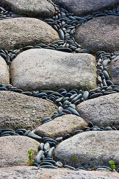 SBG pin of the day!  This pathway black Mexican pebble on-edge idea can be used with river stones or any of the cheap cast concrete knock offs - note how it flows!