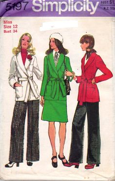 Simplicity 5197 Womens Wrap Coat Skirt & Pants 70s Vintage Sewing Pattern Size 12 Bust 34 Inches UNCUT Factory Folded