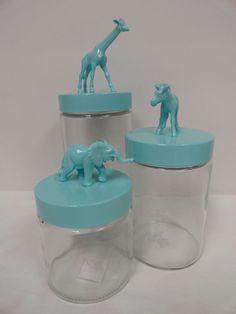Handmade NEW Baby Nursery Storage Glass Apothecary Jars, Baby Zoo Animals