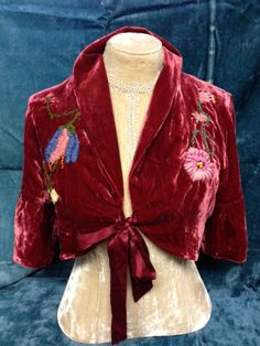Silk/rayon velvet bolero jacket hand embroidered