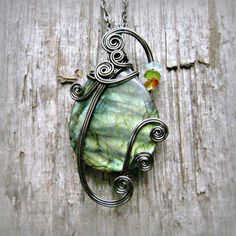 Iridescent Green Labradorite Wire Wrapped Pendant Necklace in Gunmetal by CareMoreCreations.com  #handmade #jewelry