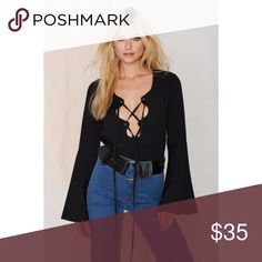 NWT Nastygal Lace Up Top New with tags • Size XS • Originally $68 Nasty Gal Tops