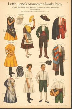1911 Lettie Lane's Around-the-World Party: SPANISH Boy and Girl-Paper Dolls -artist Sheila Young -Curtis Publishing Co. Philadelphia, PA -Paper Dolls -artist Sheila Young -Curtis Publishing Co. Paper Art, Paper Crafts, Cardboard Crafts, Paper Doll House, Paper Houses, Costumes Around The World, Paper People, Girl Artist, Thinking Day