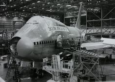 SAA 747 SP under construction at Boeing in Seattle Jumbo Jet, Civil Aviation, Boeing 747, History Photos, The Past, Aircraft, African, Spacecraft, Jets