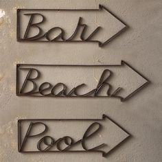 "Not ones to waste words or material, our cottage industry partners fashioned these helpful pointers to direct guests to the amenity of choice. brbrliDimensions: (Bar) 21""w x 8""h (Beach) 26""w x 8..."