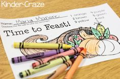 FREE Color by Number Thanksgiving Feast page