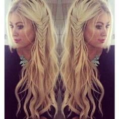 Beach waves with a small side fishtail braid. These are some great styles!