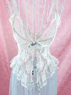 Baby Blue & White Sheer Negligee – Cupidity vintage lingerie sleepwear kawaii jfashion japanese fashion cute princess babydoll lace peignoir teddy nightgown