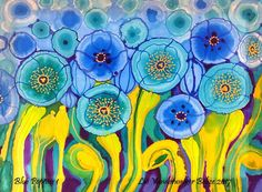 Blue Poppies 7 Hand Painted Silk Original with free shipping