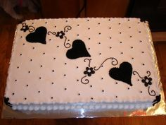 Black and White sheet cake By cjsterkel on CakeCentral.com