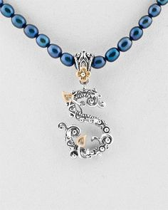 Barbara Bixby 18K & Silver Pearl Initial Pendant - on my wish list! Have other 'S' initial pendants with stones, but this is exceptional, especially on the blue pearls.