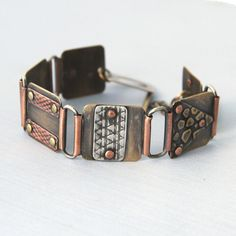 Riveted Mixed Metal Bracelet 2 by cyndiesmithdesigns on Etsy