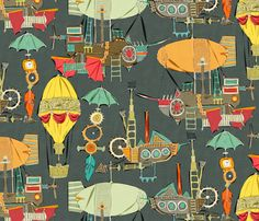 steampunk sky dark fabric by scrummy on Spoonflower - custom fabric #steampunk #sky #spoonflower #fabric #design #wallpaper #giftwrap #dirigible #hotairballoon #flight #aviation #illustration #art #feather #balloon #umbrella