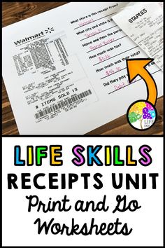 Life Skills - Receipts - Special Education - Math - Shopping - Money - Unit 1 Have your students practice real world reading and math skills by answering questions from receipts! Excellent for life skills instruction in the classroom. Life Skills Lessons, Life Skills Activities, Life Skills Classroom, Teaching Life Skills, Math Skills, Life Skills Kids, Teaching Money, Autism Activities, Life Learning