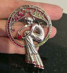 Art Deco Pin Woman in Gown Silver w Marcasite Red Green Amber Clear Stones | eBay