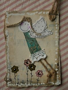 ATC_turkusowy anioł | Flickr - Photo Sharing! Fabric Cards, Fabric Postcards, Atc Cards, Artist Trading Cards, Christmas Crafts For Kids, Textile Artists, Applique Quilts, Altered Art, Machine Embroidery