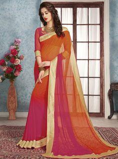 Orange Georgette Casual Wear Saree 87141