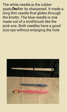 Toothbrush rug needles